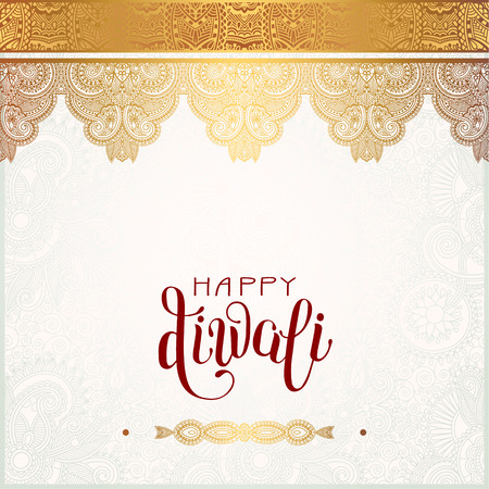 Happy Diwali gold greeting card with hand written inscription to indian light community festival, vector illustration Illustration