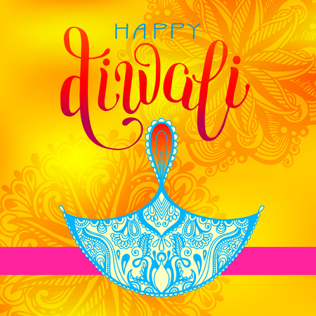 Happy Diwali greeting card with hand written inscription to indian light community festival, vector illustration
