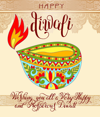 deepawali backdrop: Happy Diwali greeting card with hand written inscription to indian light community festival, vector illustration