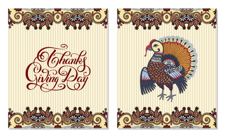 giving: Thanks Giving Day decorative greeting card with turkey and handwritten inscription to holiday design, typographic vector illustration
