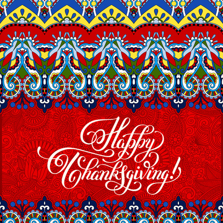 flower decoration: Happy Thanksgiving handwritten lettering on floral background with flower decoration inscription for greeting card, poster, print and holidays design, calligraphy vector illustration
