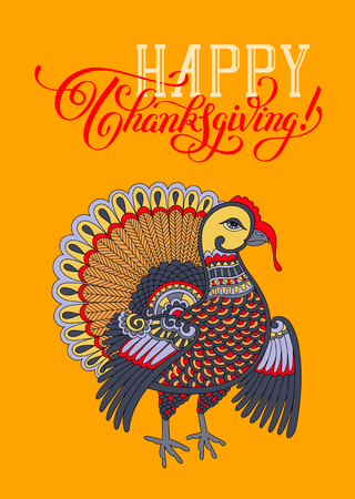 give: Happy Thanksgiving Day decorative greeting card with turkey and handwritten inscription to holiday design, typographic vector illustration