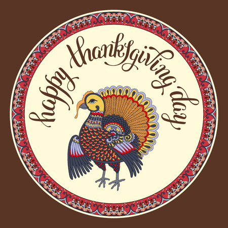 give: Happy Thanksgiving Day decorative greeting card with turkey and handwritten inscription on circle frame to holiday design, typographic vector illustration
