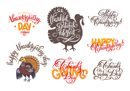 thanks giving: set of hand lettering inscriptions to thanksgiving day collection for greeting card, print, poster, flayer or holiday design, calligraphy vector illustration Illustration