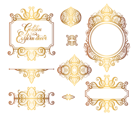 Floral Golden Eastern décor frame elements, motif paisley pour mariage invitation, anniversaire carte de voeux, emballage, party flayer et autre design, calligraphie illustration vectorielle