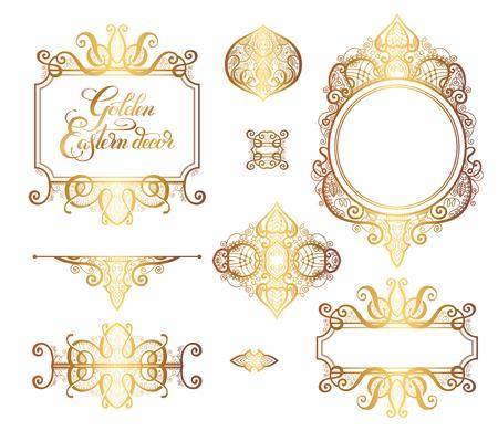 Floralen goldenen östlichen Dekor Rahmen Elemente, Paisley-Muster für Hochzeit Einladung, Geburtstag Grußkarte, Verpackung, Party Flayer und andere Design, Kalligraphie Vektor-Illustration