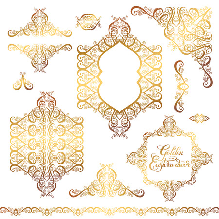gold ornaments: set of floral golden eastern decor frame elements, paisley pattern collection for wedding invitation, birthday greeting card, packaging, party flayer and other design, calligraphy vector illustration