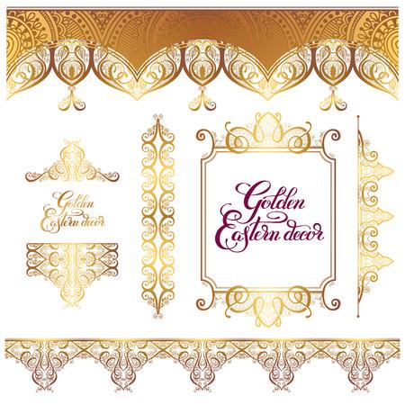 set van bloemen gouden oostelijke decor frame-elementen, paisley patroon collectie voor bruiloft uitnodiging, verjaardag wenskaart, verpakking, partij flayer en andere design, kalligrafie vector illustratie
