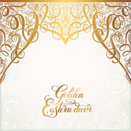 東花黄金装飾結婚式招待状、誕生日グリーティング カード、包装、パーティー フレア、他のデザイン、書道ベクトルのペイズリー パターン、テキ