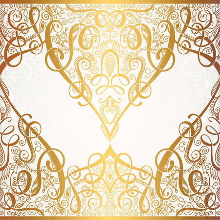 floral golden eastern decor with place for your text  paisley pattern for  wedding invitation. Set Of Floral Golden Eastern Decor Frame Elements  Paisley Pattern