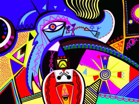 composizione geometrica vibrante variopinta astratta di arte contemporanea digitale contemporanea, modello colorato della stampa del manifesto, illustrazione moderna di vettore del fondo