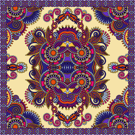 stole: authentic silk neck scarf or kerchief square pattern design in ukrainian style for print on fabric, vector illustration