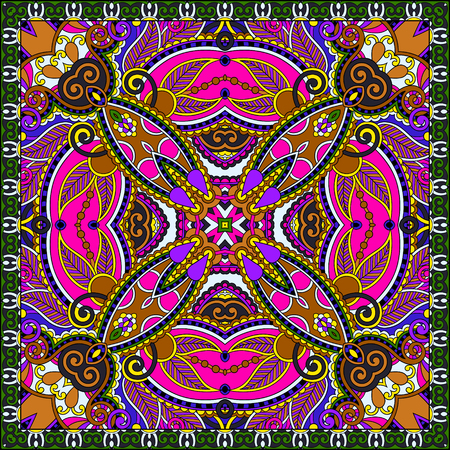 handkerchief: Traditional ornamental floral paisley bandanna. You can use this pattern in the design of carpet, shawl, pillow, cushion, vector illustration