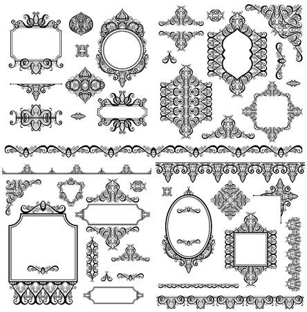 Ensemble d'éléments de conception blanc noir et décoration de page - cadres, diviseur, motif de rayures, collection d'angle, illustration vectorielle de calligraphie Vecteurs
