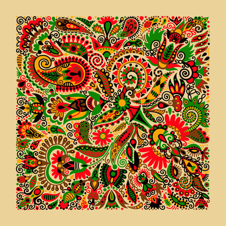 ukrainian traditional: ukrainian traditional ethnic painting, floral pattern in ethno style, hand drawing vector illustration