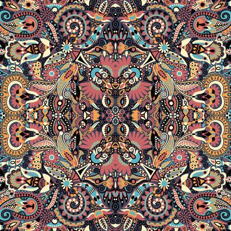 ukrainian traditional: Ethnic seamless background, floral pattern in Ukrainian traditional style, freehand vector illustration