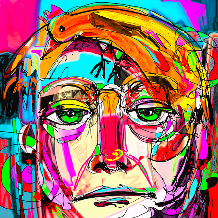 鳥、インテリア デザイン、ページ装飾、web、その他、現代のベクトル図に最適のようにオレンジ色の髪の男の顔の元の抽象芸術現代的なデジタル絵画肖像画 写真素材 - 64879447