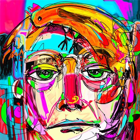 originale l'arte astratta contemporanea ritratto pittura digitale del volto dell'uomo con i capelli arancioni come un uccello, perfetto per l'interior design, la decorazione della pagina, web e altri, illustrazione vettoriale moderno