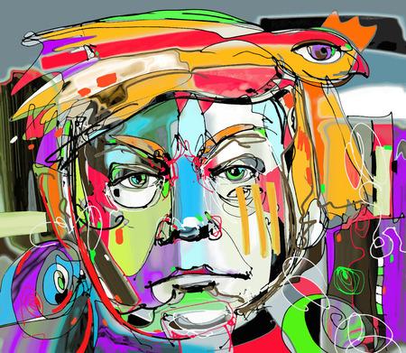 Originale l'arte astratta contemporanea ritratto pittura digitale del volto dell'uomo con i capelli arancioni come un uccello, perfetto per l'interior design, la decorazione della pagina, web e altri, illustrazione vettoriale moderno Archivio Fotografico - 64879449