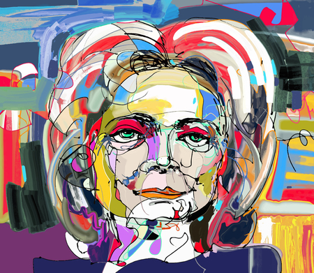 perfect face: original abstract digital painting of woman face, colorful composition in contemporary modern art, perfect for interior design, page decoration, web and other, vector illustration
