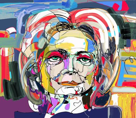ursprüngliche abstrakte digitale Malerei der Frau Gesicht, bunte Komposition in der zeitgenössischen modernen Kunst, ideal für Interior Design, Dekoration Seite, Web und andere, Vektor-Illustration