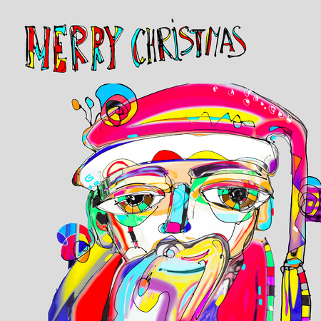 art contemporary: modern doodle drawing portrait of santa claus in contemporary abstraction painting art style with hand lettering inscription merry christmas, vector illustration Illustration