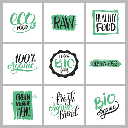 healthy food sticker set with handwritten inscription for production eco green concept, calligraphy bio vegan collection vector illustration