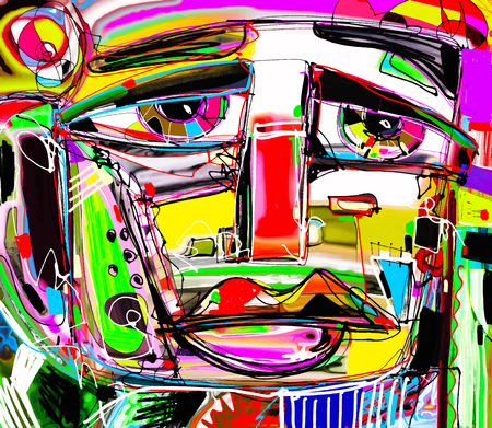 composition art: abstract digital painting portrait of a sad man, colorful contemporary modern art composition, perfect for interior design, page decoration, web and other Illustration