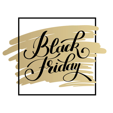 discount tag: black friday design on gold, sale, discount, advertising, marketing price tag inscription design template, calligraphy illustration