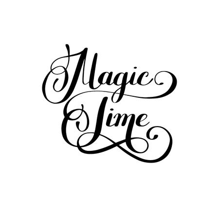 black magic: magic time black and white hand lettering inscription, handmade calligraphy illustration