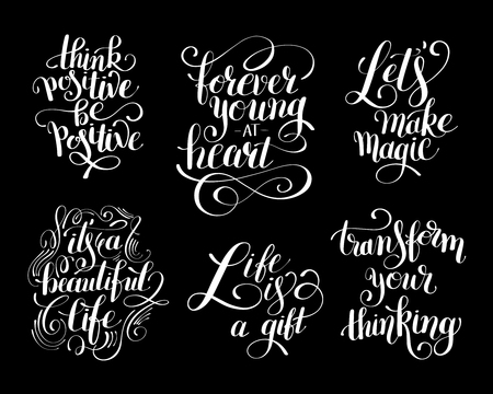 phrases: collection of black and white positive typography posters, conceptual phrases about life, modern set calligraphy illustration Illustration