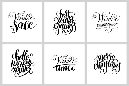 scripts: set of winter black and white lettering inscription holiday christmas phrase, typography collection with brush script, calligraphy illustration