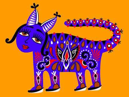 ukrainian traditional: Fantastic ethnic folk animal on Ukrainian traditional karakoko style - fantasy monsters, illustration Illustration