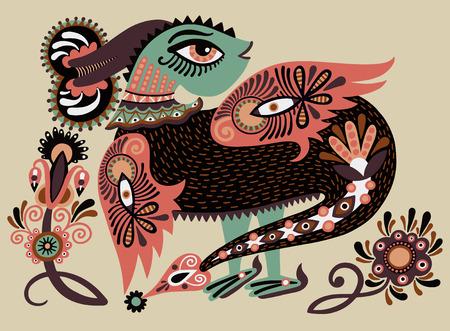 ukrainian traditional: ethnic fantastic animal doodle design in karakoko style, unusual animal, ukrainian traditional painting folkloric illustration