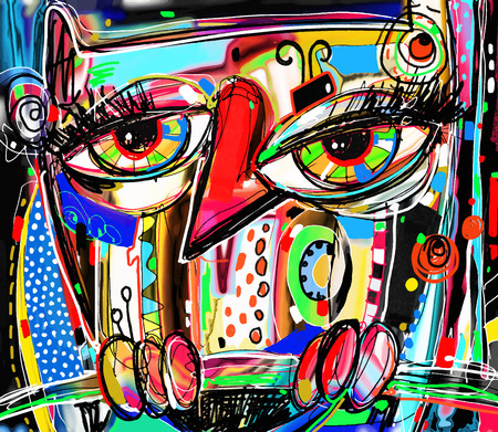 artwork painting: original abstract digital painting artwork of doodle owl, colored poster print pattern