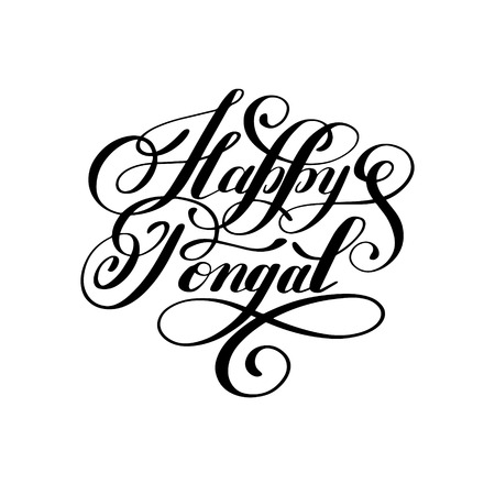 auspicious words: happy pongal handwritten ink lettering inscription to occasion of south Indian harvesting festival holiday design Illustration