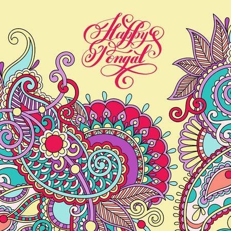 auspicious words: happy pongal handwritten ink lettering inscription on floral paisley pattern to occasion of south Indian harvesting festival holiday design, greeting card, celebration, calligraphy illustration
