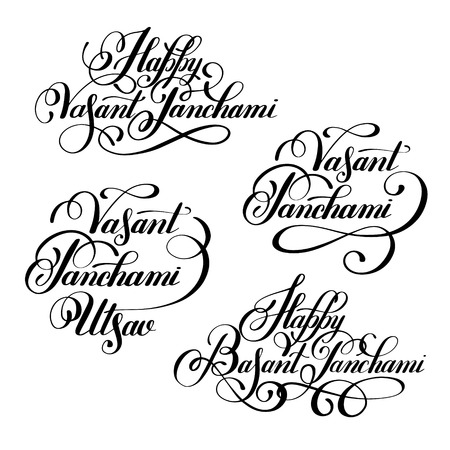 panchami: set Happy Vasant Panchami Utsav handwritten ink lettering inscriptions for indian winter holiday, calligraphy collection illustration