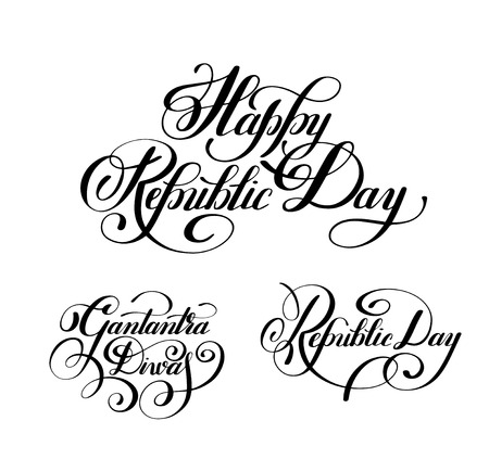 republic: Happy Republic Day handwritten ink lettering set inscriptions for indian winter holiday 26 January, calligraphy collection illustration