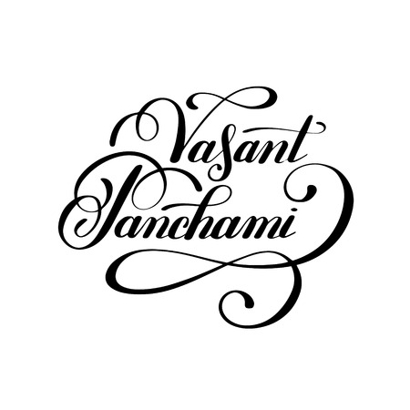 panchami: Vasant Panchami handwritten ink lettering inscription for indian winter holiday, calligraphy illustration Illustration