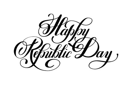 26: Happy Republic Day handwritten ink lettering inscription for indian winter holiday 26 January, calligraphy illustration
