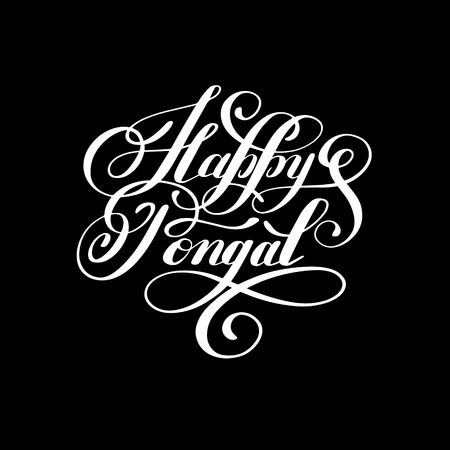 happy pongal handwritten ink lettering inscription to occasion of south Indian harvesting festival holiday design, greeting card, poster, celebration, calligraphy illustration Illustration