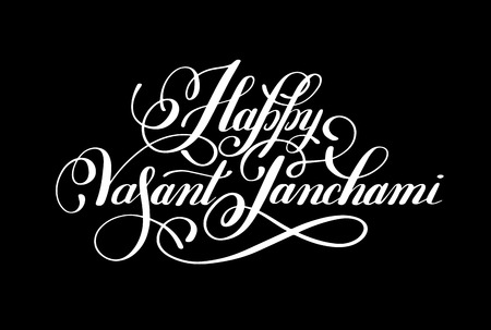 panchami: Happy Vasant Panchami handwritten ink lettering inscription for indian winter holiday, calligraphy illustration