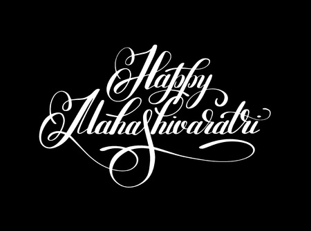 Happy Mahashivaratri handwritten ink lettering inscription for indian winter holiday, calligraphy illustration