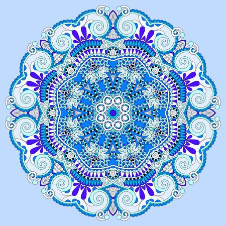 mandala, blue circle decorative spiritual indian symbol of lotus flower, round ornament pattern