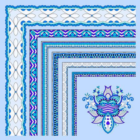 Diseño azul marco de la vendimia floral. establece ilustración. Todos los componentes son fácilmente editables