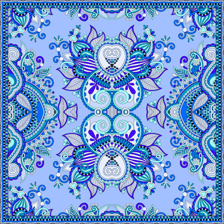 ascot: silk neck scarf or kerchief square pattern design in ukrainian style for print on fabric, vintage illustration