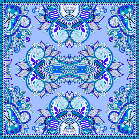 silk neck scarf or kerchief square pattern design in ukrainian style for print on fabric, vintage illustration