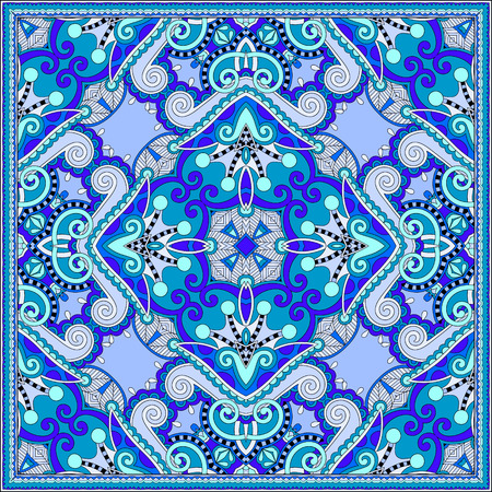 kerchief: silk neck scarf or kerchief square pattern design in ukrainian style for print on fabric, vintage illustration