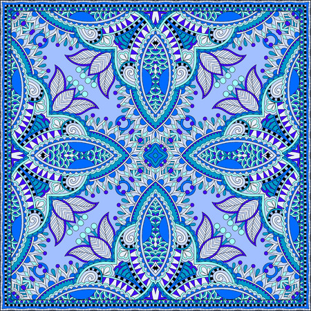 hanky: silk neck scarf or kerchief square pattern design in ukrainian style for print on fabric, vintage illustration